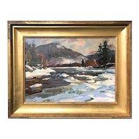 Aldro Thompson Hibbard Impressionist Oil Painting of a Vermont Landscape, Jamaica in Winter