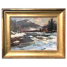 Aldro Thompson Hibbard Impressionist Oil Painting of a Vermont Landscape, Jamaica in Winter