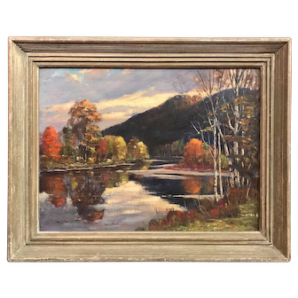 Earle A. Titus Oil Painting New England Fall Landscape with River Reflections