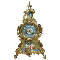 Late 19th c S. Marti et Cie French Gilt & Porcelain Polychrome Mantle or Shelf Clock