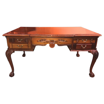Colonial Revival Scroll Carved Mahogany Partners Desk