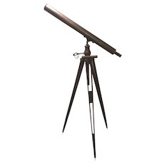 19th c A. Bardou Paris Refracting Telescope on Wooden Tripod