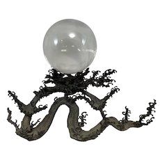 Japanese Meiji Period Wave Pattern Bronze with Crystal Ball