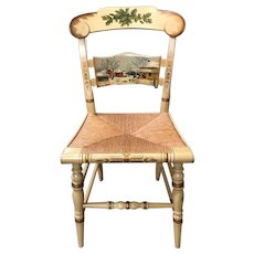 Folk Art Painted Limited Edition Hitchcock Christmas Chair with Rush Seat 1972