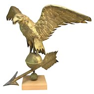 Early 20th c Gilt Copper Eagle Weathervane on Stand