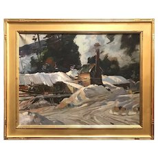 Aldro Thompson Hibbard Oil Painting of a Winter Landscape with Sawmill