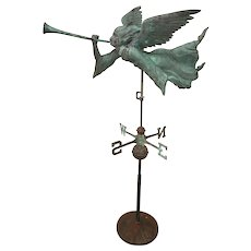 Archangel Gabriel Copper Weathervane with Directional and Stand