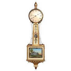 Elmer Stennes, Weymouth MA Gilt Banjo Clock with George Washington & Mont Vernon