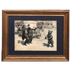 Harry Mills Walcott Watercolor and Gouache Painting of Dancing Bear & Handlers 1895