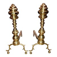 Pair of 18th / 19th c Large Brass Chippendale Andirons