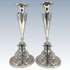 Pair of Early 19th c Georg Stephan Dörffer Sterling Silver Candlesticks with Dolphin Decoration