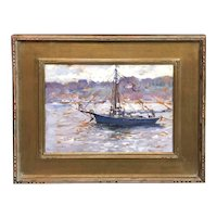 Emile Albert Gruppe Impressionist Cape Ann Marine Oil Painting, The Blue Boat