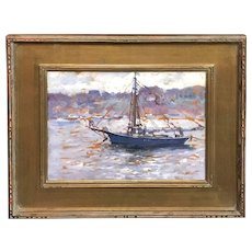 Emile Albert Gruppe Impressionist Cape Ann Marine Oil Painting, The Blue Boat