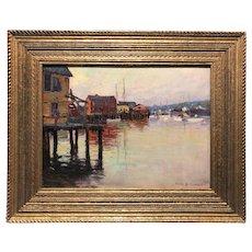 Emile Albert Gruppe Cape Ann Marine Oil Painting, Harbor Scene with Wharf