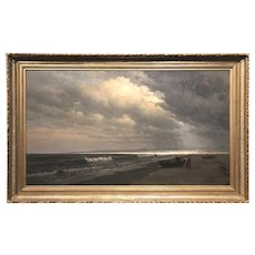 William Edward Norton Marine Painting, Figures and Dory on the Beach