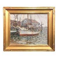 Aldro Thompson Hibbard Impressionist Marine Oil Painting, Provincetown Dock