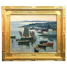 Anthony Thieme Impressionist Marine Oil Painting of the Maine Coast, Probably Bremen Harbor