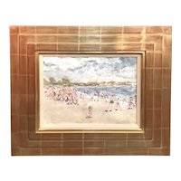 Stephen Motyka Impressionist Mixed Media Painting of a Beach Scene