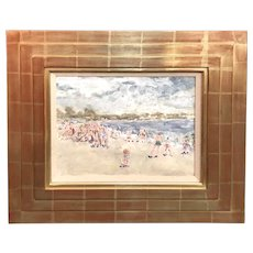 Stephen Motyka Impressionist Mixed Media Painting of a Beach Scene