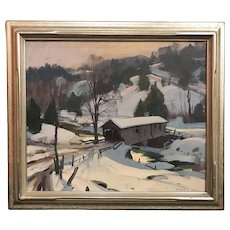 Emile Albert Gruppe New England Winter Landscape Oil Painting, Covered Bridge Near Woodstock