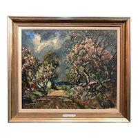 William Lester Stevens Landscape Oil Painting, Apple Blossoms