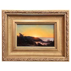 Erik Koeppel Maine Coastal Landscape Oil Painting, Sunset Over Monhegan Harbor