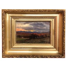 Erik Koeppel White Mountain Landscape Oil Painting, Autumn Sunset, Davis Farm, Jackson, NH