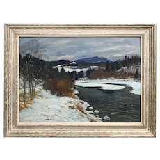 Earl A. Titus Winter Landscape Oil Painting, March Day, Ammonoosuc River, Bath, NH 1957