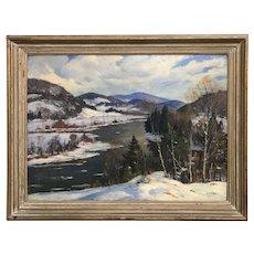 Earl A.Titus Winter Landscape Oil Painting, Connecticut River Monroe NH 1949