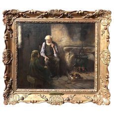 Henry John Dobson Interior Genre Oil Painting, Grandfather's Tales