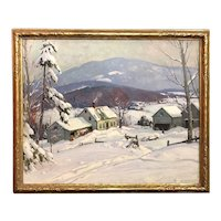 Aldro Thompson Hibbard New England Landscape Oil Painting, After a Winter Snow, circa 1940