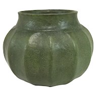 Fine Grueby Pottery Arts & Crafts Vase in Dark Matte Green Glaze