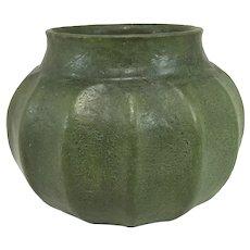 Fine Grueby Pottery Arts & Crafts Vase in Dark Matte Green Glaze