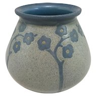 Early 20th c Canted Form Marblehead Pottery Arts & Crafts Vase with Blue & Yellow Flowers