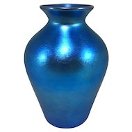 Quezal Signed Blue Iridescent Art Glass Vase