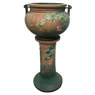 Roseville Pottery Fuchsia Pattern Jardiniere and Pedestal circa 1938