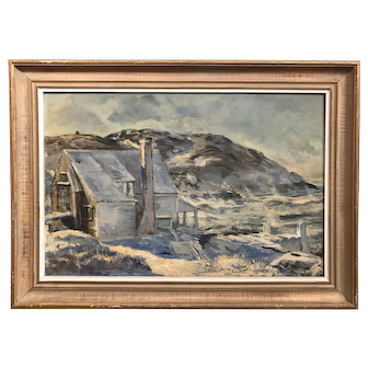 Andrew George Winter Landscape Oil Painting, House in Winter, Monhegan Island, Maine