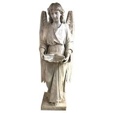 Carved Marble Angel Statue with Shell Font, dated 1897