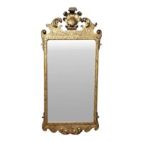 English George I Giltwood Mirror with Prince of Wales Feather Decoration