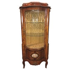 Italian Marquetry Curved Glass Curio Cabinet with Ormolu Mounts