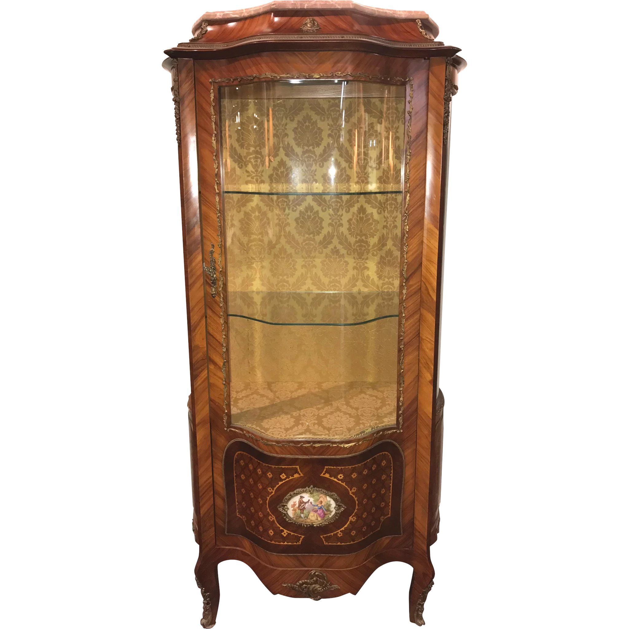 Marquetry Curved Gl Curio Cabinet