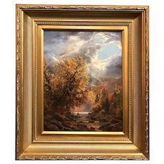 Erik Koeppel White Mountain NH Landscape Oil Painting, Autumn Storm in Pinkham Notch