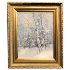 Erik Koeppel White Mountain NH Landscape Oil Painting, A Winter's Eve