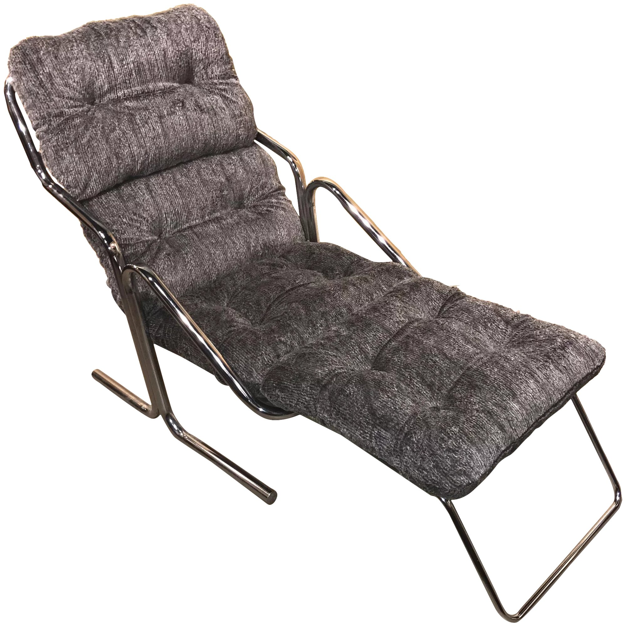 Jerry Johnson Mid Century Arcadia Chrome Lounger Chair With Built In Footrest Ottoman