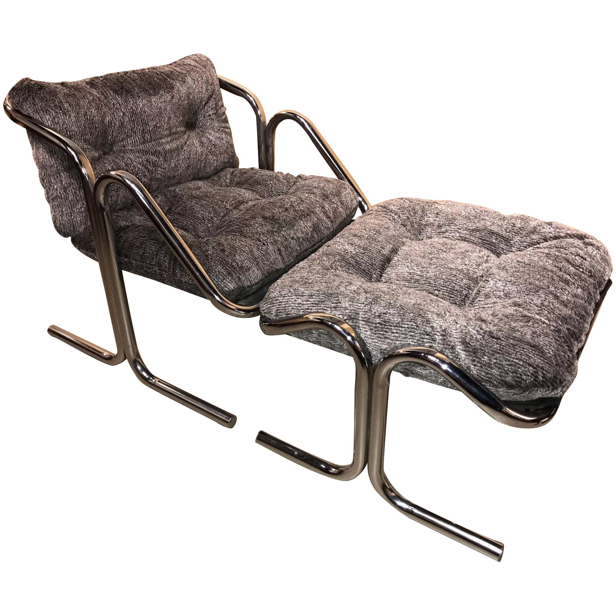 Jerry Johnson Mid Century Arcadia Chrome Sling Or Lounge Chair With Separate Footrest Ottoman