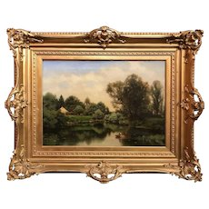 Henry Pember Smith Oil Painting Landscape with Figure in Rowboat