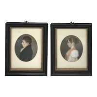 Pair of 19th c English Watercolor Gouache Miniature Portraits of Siblings