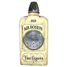"""Old Mr. Boston"" Solid Wooden Liquor Advertising Bottle with Gilbert Metal Clock 1920's"