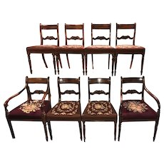 Set of 8 Mahogany English Regency Dining Chairs with Needlepoint Upholstery
