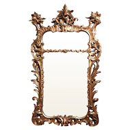 J. Alden Weir's 18th Century Polychrome English Giltwood Rococo Mirror